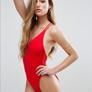 ASOS DESIGN recycled Cross Back High Leg Swimsuit